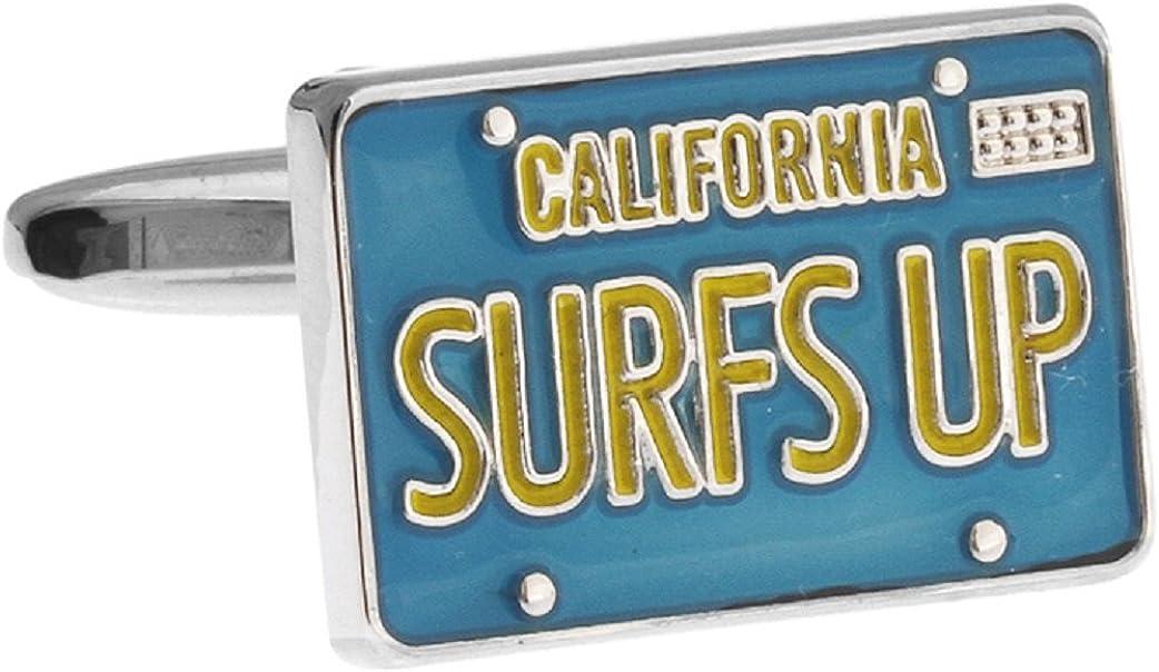MRCUFF Surfs Up California License Surfer Pair Cufflinks in Presentation Gift Box & Polishing Cloth