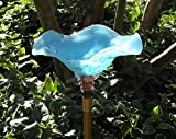 Sky Blue Hand Blown Glass Butterfly Feeder with 36'' Copper Stake
