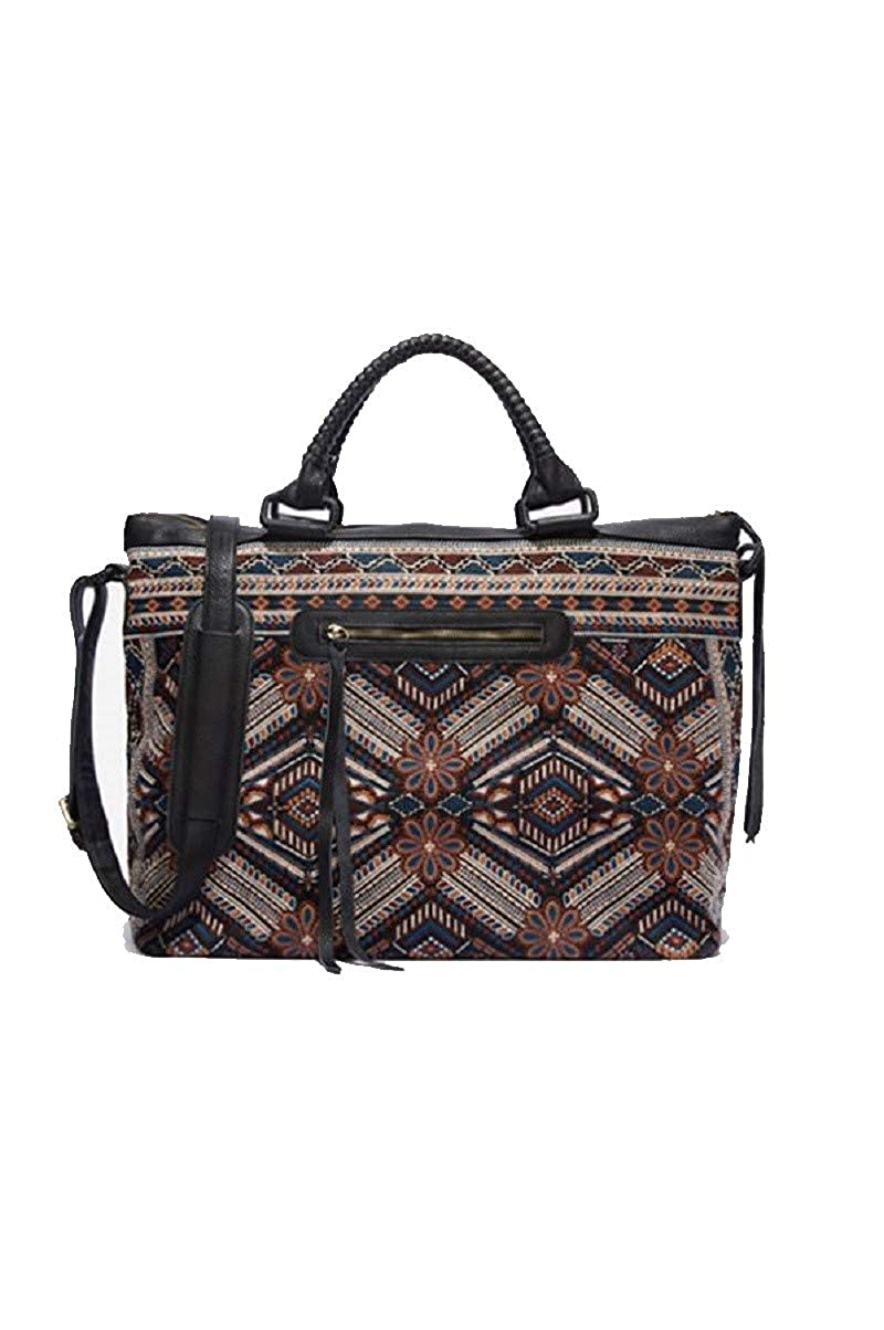 Image of 3J Workshop by Johnny Was Women's Embroidered Duffle Bag with Leather Handles, black, O/S Luggage
