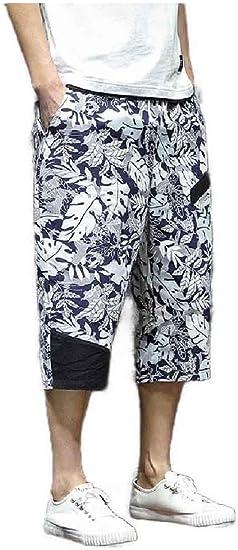 Beeatree メンズ 3/4 パンツ 夏の花柄 リラックス フィット 大きい & 背の高い脚パンツ