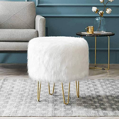 Modern Round Ottoman Footrest Stool – Luxurious Faux Fur Covered Seat w Sturdy Gold Hairpin Legs – Easy Assembly Accent Furniture Perfect for Use in Any Room – White Color