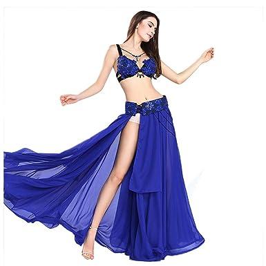 e22348b84ed ROYAL SMEELA Women s Belly Dance Costume Set Belly Dance Skirt Blue Bra and Belt  Plus Size