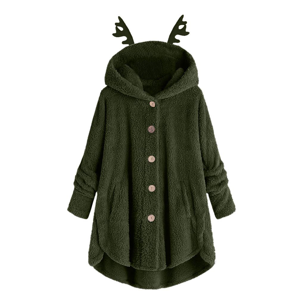 Fammison Women Hooded Faux Fur Coats Long Teddy Bear Jacket Button Fluffy Pullover Loose Sweater Army Green by Fammison