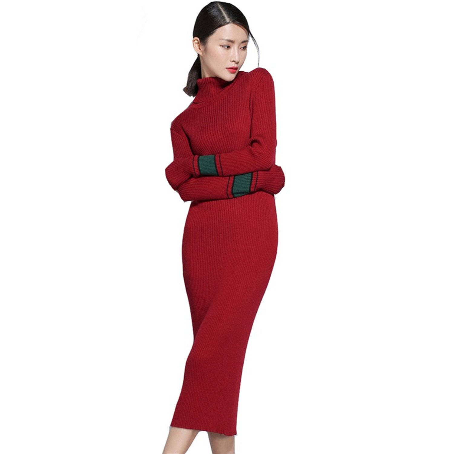 gome-z Autumn Winter Dress Cashmere Blending Turtleneck Strips Contrast Color Casual Long Slim Soft Femme Dresses Vestidos Army Green One Size at Amazon ...