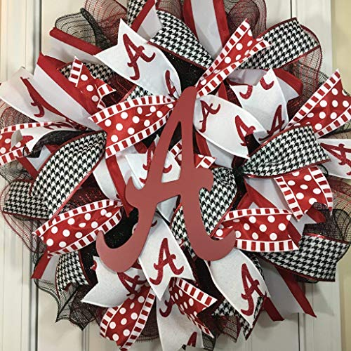 Alabama Crimson Tide Wreath for Front Door with Deco Mesh and Ribbon, 22 Inches