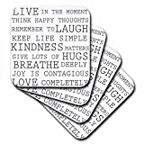 3dRose cst_179040_3 Inspirational Words Black and White Text-Ceramic Tile Coasters, Set of 4