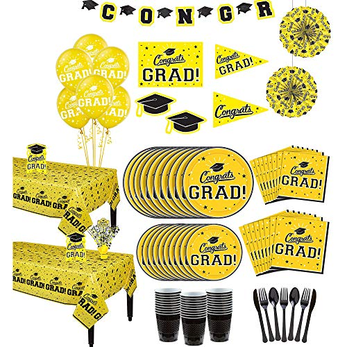Party City Yellow Congrats Grad 2019 Graduation Party Supplies for 36 Guests with Banner, Tableware and Balloons -