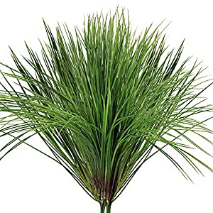 "besttoyhome 2 Pcs Fake Artificial Wheat Grass Plants Spray Faux Plastic Onion Grass Bundle in Green 20"" Tall X16 Wide Weather Resistant for Outdoor Indoor Greenery Centerpiece Floral Wedding Decor 78"