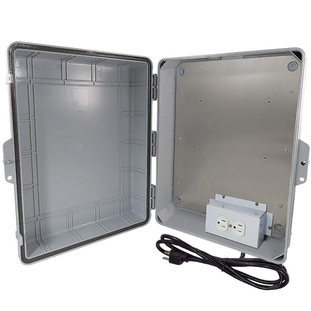 Altelix NEMA Enclosure 14'' x 6.5'' x 4.5'' Inside Space Polycarbonate + ABS Weatherproof with Aluminum Equipment Mounting Plate, Pre-Wired 120 VAC Outlets, 5 Foot Power Cord
