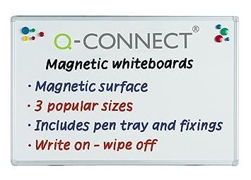 Q-Connect Pizarra Blanca Lacada Magnética Marco De Aluminio 90 x 60 Cm