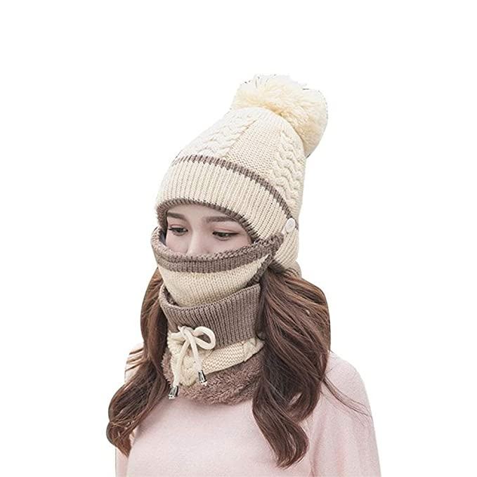 52e635b5a70 3 in 1 Warm Thick Knitted Beanie Hat Scarf Mask Set Slouchy Snow Knit Cap  Infinity