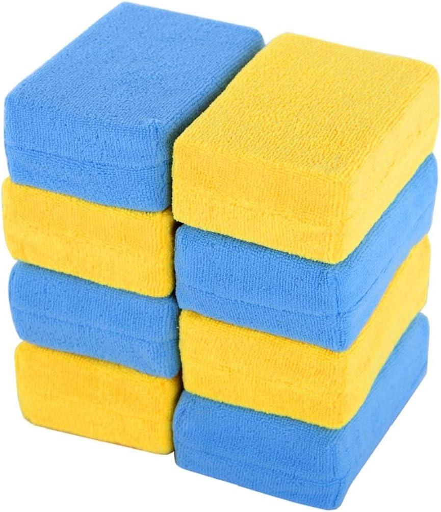 MR. SIGA Microfiber Sponge Applicator, Pack of 8, Blue & Yellow, Size 5.8''x 4''x 2'' (15 x 10 x 5cm)