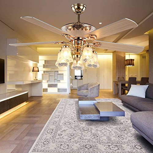 Golden Ceiling Fan Light with 5 Reversible Blades and Remote Control, Modern Quiet Fan 52-Inch Chandelier Fan Light