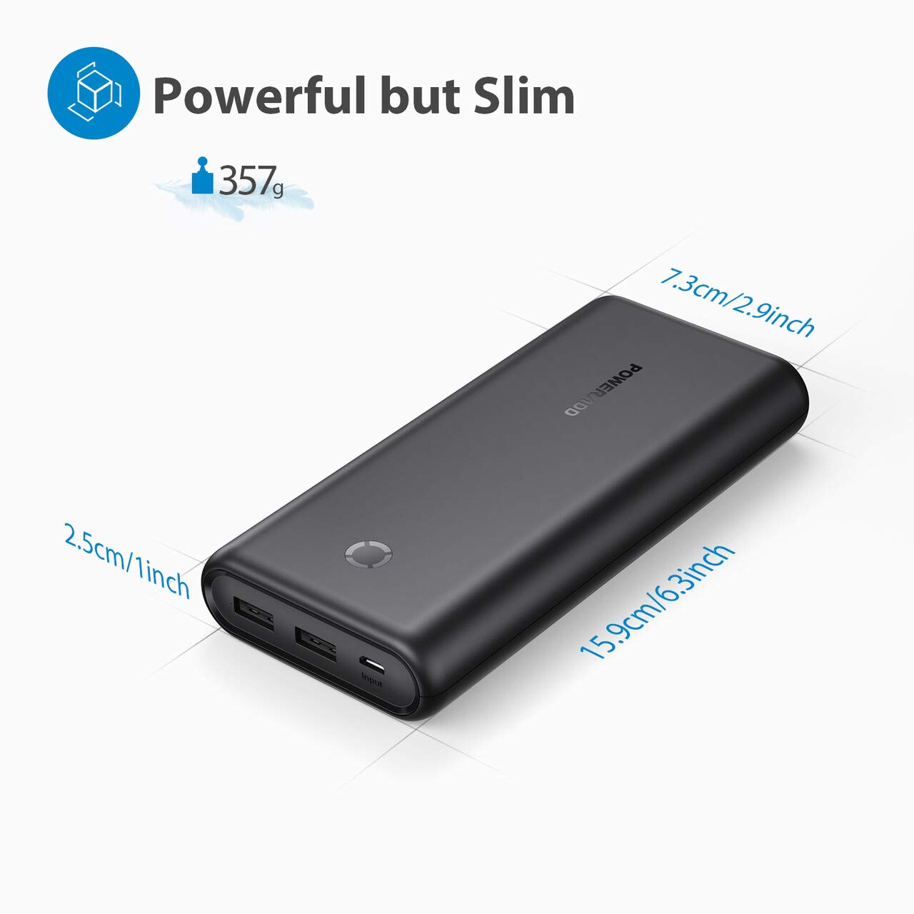 Poweradd Energycell 20000mAh Ultra Portable Charger Universal External Power Bank Compatible with iPhone, iPad, Samsung, Huawei and More-Black