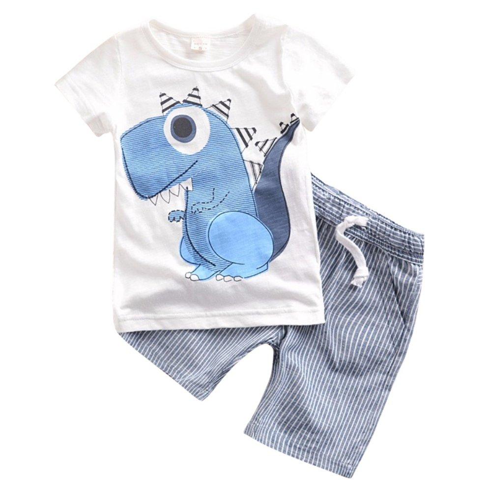 Loveble Summer Boys Girls Cartoon Small Dinosaur Printing Short Sleeve T-Shirt+Striped Shorts Outfit Set Age 1-6 Years