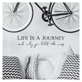 Life is a Journey and Only You Hold the Map Vinyl Lettering Self Adhesive Decal (9''H x 36''L, Charcoal Grey)