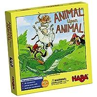 HABA Animal Upon Animal - Divertido juego de apilamiento de madera clásico para toda la familia (hecho en Alemania)