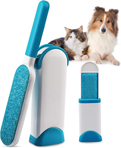 Carpet HOWOSO Pet Hair Remover Car Seat Clothing Reusable Self-Cleaning Dog Hair Remover Cat Hair Remover for Furniture Upgraded Removable Pet Hair Remover Brush Widen Double-Sided Lint Brush