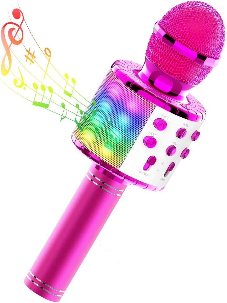 TECBOSS Kids Karaoke Microphone, Wireless Bluetooth Microphone Machine with LED Lights for Kids Girls Teens Adults - Best Gifts Toys