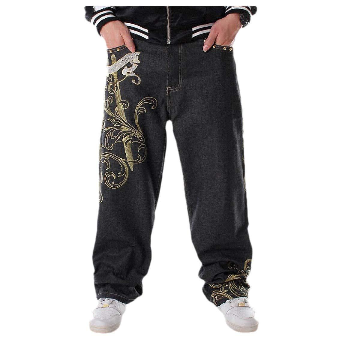 Comaba Men Slim-Tapered Casual Washed Broken Hole Harem Denim Jeans
