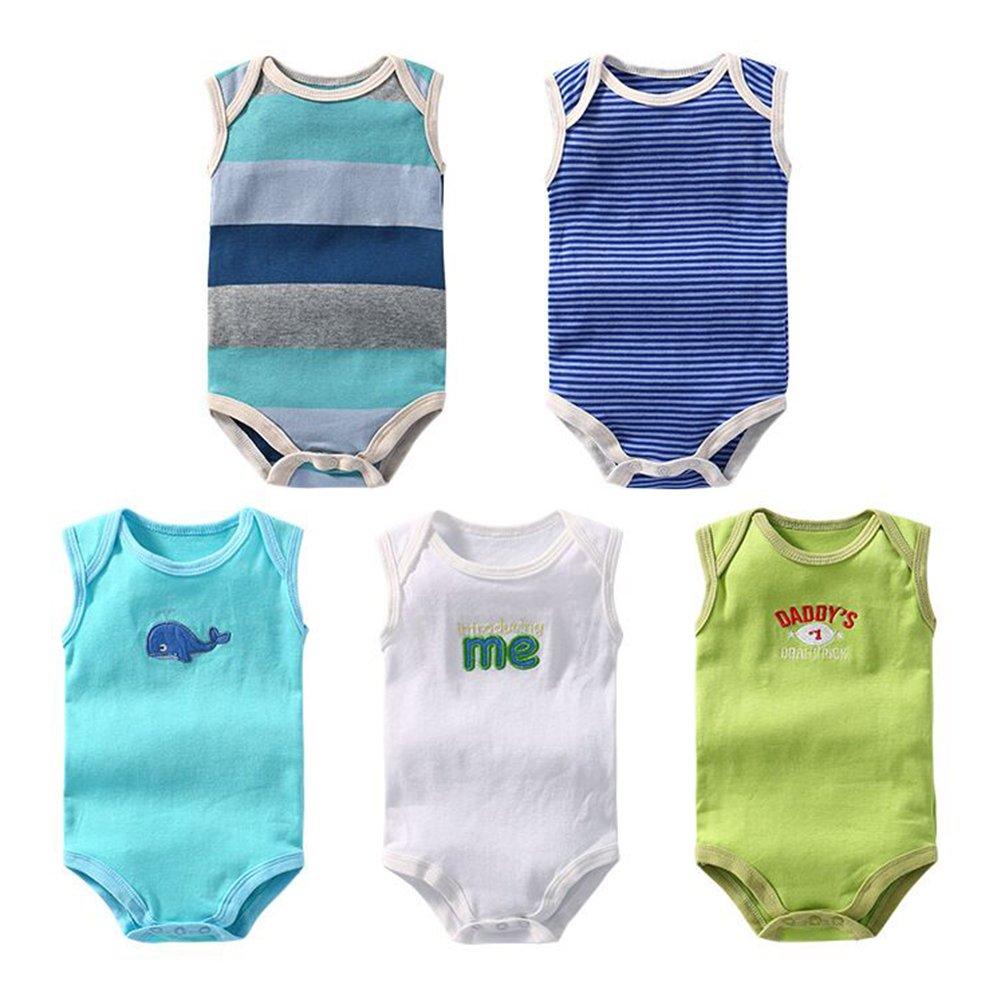 (paquete de 5) 3-24 meses bebé jumpsuit colorido mameluco onesies sin mangas traje recién nacido ropa infantil