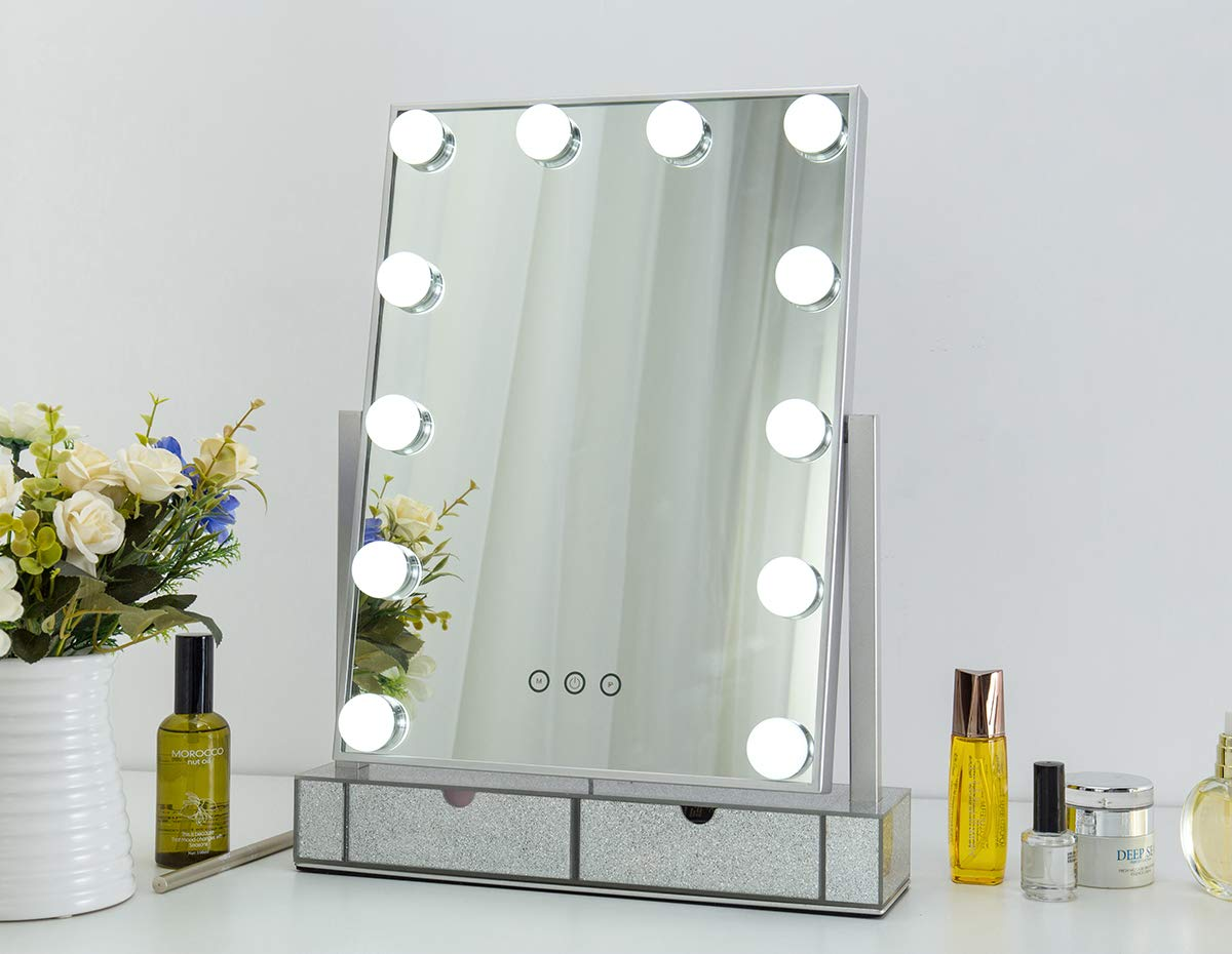 Hollywood Lighted Vanity Makeup Mirror,Light-up Professional Mirror with Storage,3 Color Lighting Modes, Large Cosmetic Mirror with 12 Dimmable Bulbs for Dressing Table