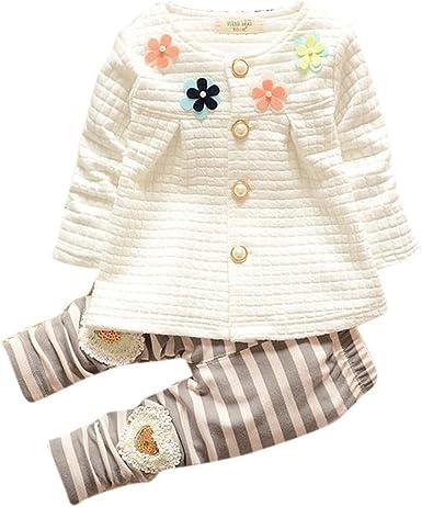 K-youth Chandal para Niña Chandal Bebé Unisex Lindo Flores Sudadera Tops y Pantalones para Niñas Niños (Blanco, 4-5 años): Amazon.es: Ropa y accesorios