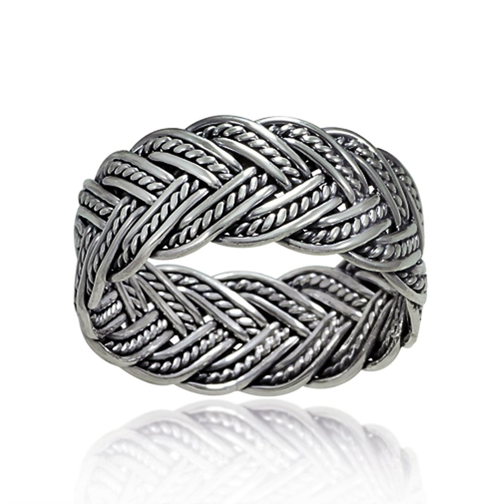 925 Oxidized Sterling Silver 10 mm Braided Woven Wave Antique Style Band Thumb Ring - Size 11 by Chuvora (Image #4)