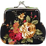 HCFKJ Lady Notecase Women Floral Small Wallet Hasp Purse Vintage Clutch Bag