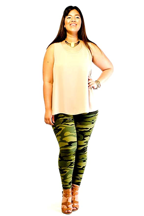 95e12fc1687ea DAVIDO Womens ORIGINAL Plus size ARMY green Camo Camouflage SOFT Leggings 1X-3X  at Amazon Women's Clothing store: