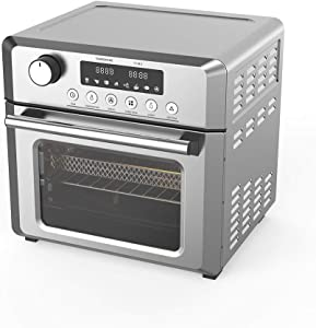 Convection Toaster Oven Air fryer Combo 7-in-1 Countertop Conventional Electric Touchscreen Digital Stainless Steel Compact Baking Roasters With Rotisserie Dehydrator Recipe Included Small Appliances with LED Display for Kitchen Home 19 QT Large Capacity (18L, Stainless)