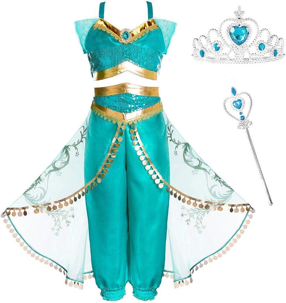 JTAISC Girls Princess Jasmine Costume Halloween Cosplay Party Dress Up