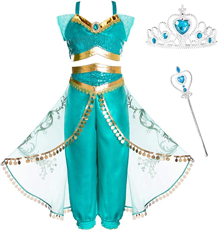 Harpily Disfraz Jasmine Niña, Vestido Traje Princesa Disfraces, Tops/Pantalones/Corona/Bastón Cosplay para Carnaval Navidad Regalo Cumpleaños Vestido ...