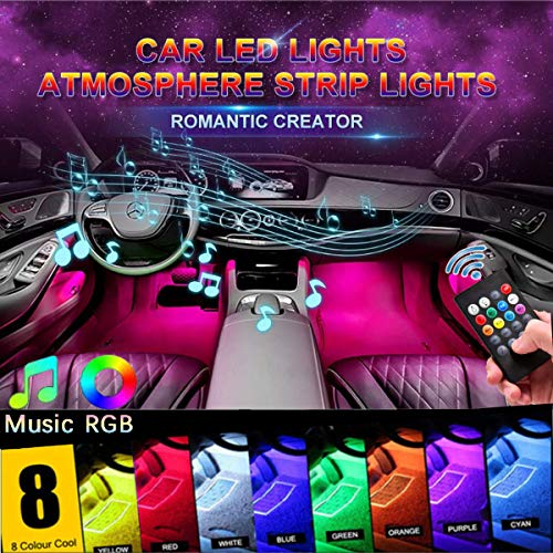 Car LED Strip Light, Auto Parts Club 4pcs 48 LED DC 12V Multicolor Music Car Interior Lights LED Under Dash Lighting Atmosphere Neon Lights Kit with Sound Active Function and Wireless Remote Control… ()