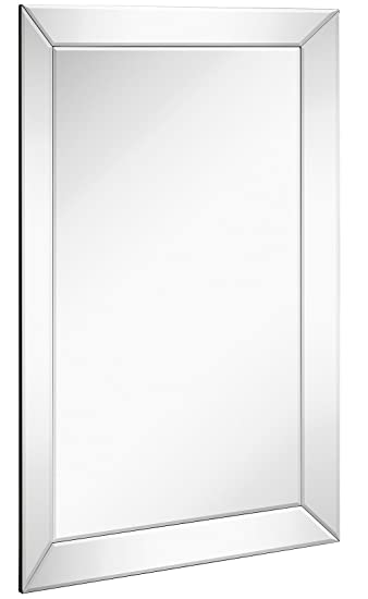 large framed wall mirror with angled beveled mirror frame premium silver backed glass panel vanity - Mirror Frame