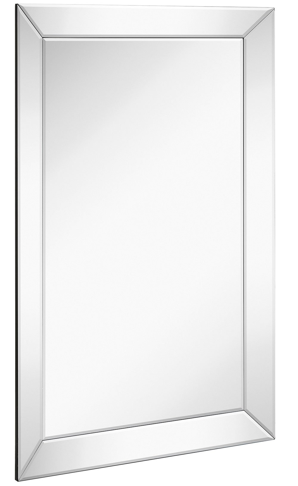 Large Framed Wall Mirror with Angled Beveled Mirror Frame | Premium Silver Backed Glass Panel Vanity, Bedroom, or Bathroom | Luxury Mirrored Rectangle Hangs Horizontal or Vertical (24'' x 36'')
