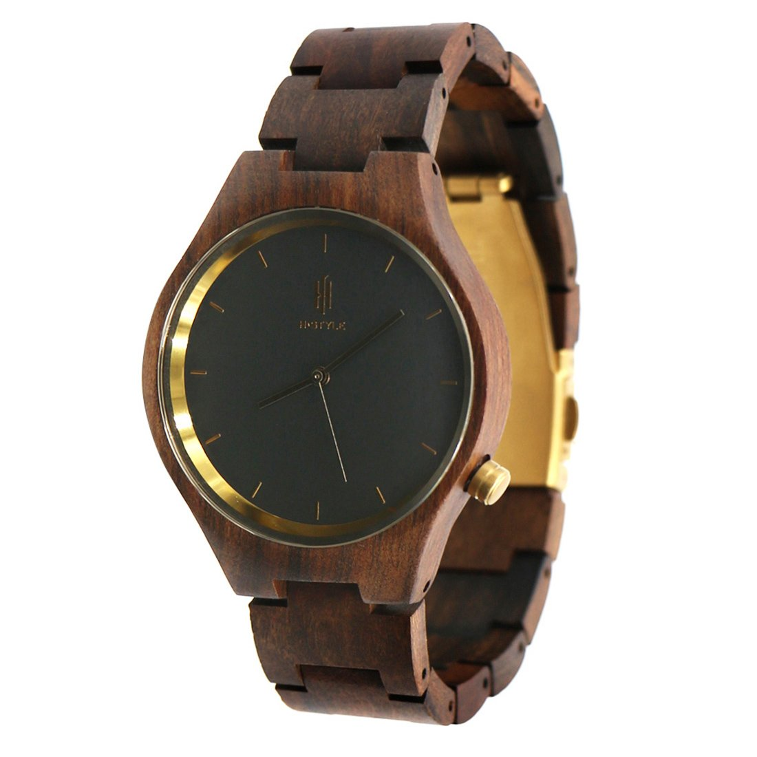 Hstyle Fashion Men's Handmade Chocolate Wooden Watches Unique Natural Wood Watches with Sapphire Glass