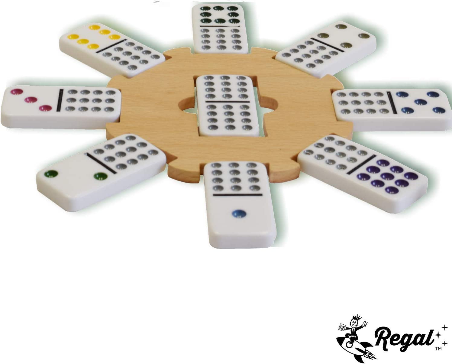 136 Pc Set Jumbo Double 15 Color Dot Dominoes W// Tin Case For Mexican Train Game