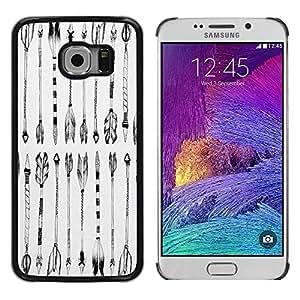 PC/Aluminum Funda Carcasa protectora para Samsung Galaxy S6 EDGE SM-G925 Black White Indian Drawing / JUSTGO PHONE PROTECTOR