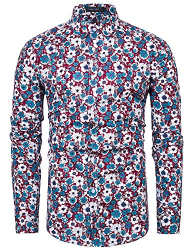 TUNEVUSE Men Floral Dress Shirts Long Sleeve Casual Button Down Shirts 100% Cotton Wine Floral XX-Large