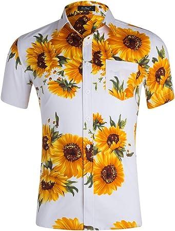 Camisa Hawaiana de Manga Corta Camisa hawaiana para hombre Camisa de playa con estampado de girasol