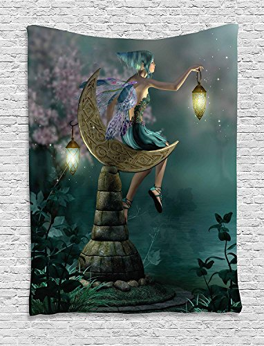 HouseLookHome Fantasy Tapestry, Little Pixie with Lantern Sitting Moon Stone Fairytale Myth Artwork, Wall Hanging for Bedroom Living Room Dorm, 60 W X 80 L Inches, Teal Lilac