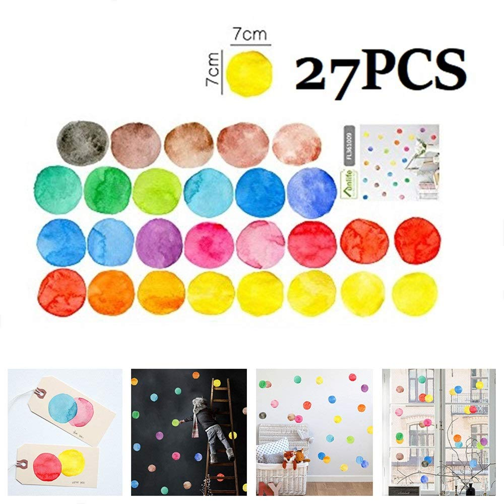 RW-361009 Removable 27PCS Vinyl Colorful Dots Wall Stickers DIY Polka Dot Wall Decals Circle Decor for Kids Girls Boys Teens Bedroom Bathroom Living Room Offices Nursery Classroom Wall Decoration