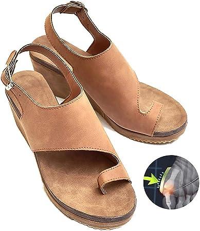 Sandalias de mujer, zapatos de corrección de dedo gordo, suela plana mujer verano, playa, viajes, PU, zapatillas de cuero, antideslizantes, corrector de juanete ortopédico para mujeres,brown,36: Amazon.es: Hogar