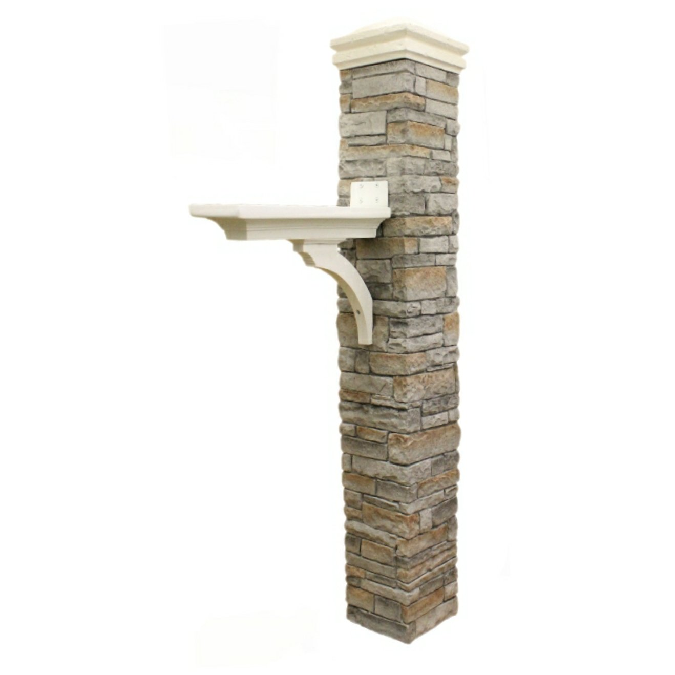 Eye Level Gray Cast Stone Mailbox Post with Curved Cap