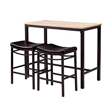 Marvelous Amazon.com: Narrow Pub Table Set, Industrial Furniture, Tall Black Wooden  Table Top And Cushion Chair Top, Vintage Dining Counter Height Pub Table  3 Pack ...