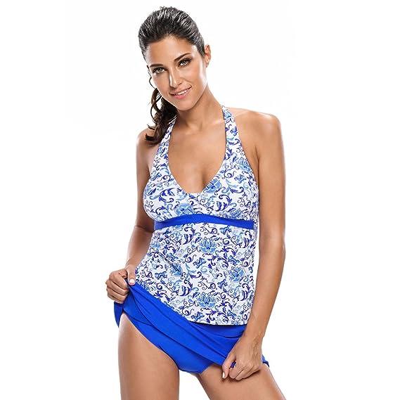 BaronHong Floral Imprimé 2pcs Tankini Maillot de Bain Bikini Femmes maillot de bain (floral, L)