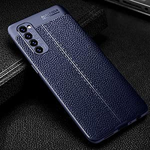 A.S. PLATINUM Drop Tested Shock Proof Slim Armor Rugged TPU Leather Texture Back Case Cover for Oppo Reno 4 Pro (Blue)