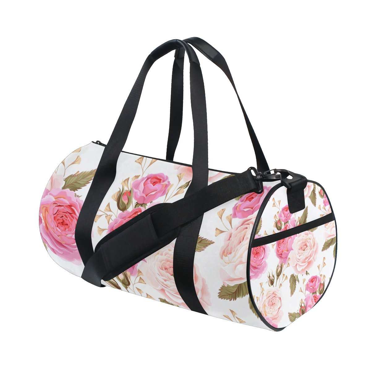 U LIFE Vintage Summer Spring Floral Peony Flowers Sports Gym Shoulder Handy Duffel Bags for Women Men Kids Boys Girls
