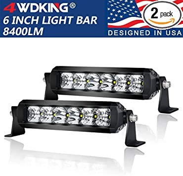 Amazon Com Led Light Bar 6 Inch 2pcs 4wdking 50w Ip69k